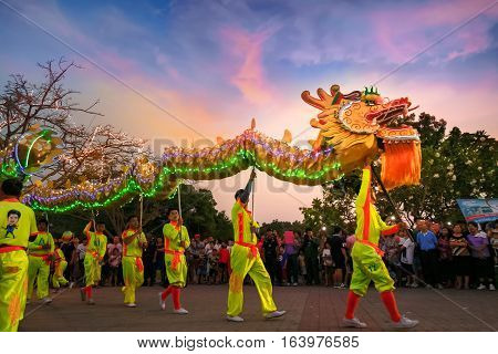 Bangkok, Thailand - Febuary 20 2016: A Group Of People Perform A Dragon Dance During Chinese New Yea