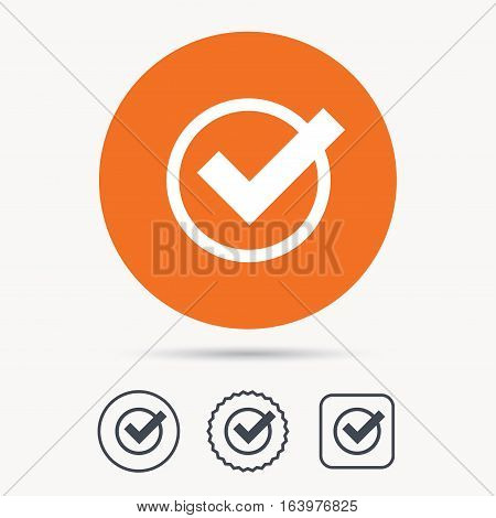 Tick icon. Check or confirm symbol. Orange circle button with web icon. Star and square design. Vector