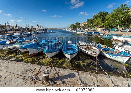 Sozopol, Bulgaria - July 12, 2016: Panorama of port of town of Sozopol, Burgas Region, Bulgaria