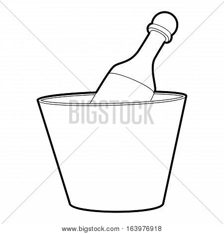 Champagne in bucket icon. Outline illustration of champagne in bucket vector icon for web