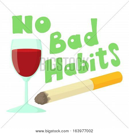 No bad habits wine and cigarettes icon. Cartoon illustration of no bad habits wine and cigarettes vector icon for web