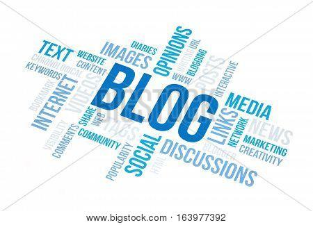 Blog concept cloud print document. Blue toned.