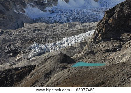 Changri Shar Glacier and turquoise lake. View from Kala Patthar Everest National Park.