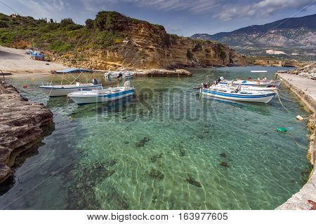 Pesada, Kafalonia, Greece - May 26 2015:  Panorama of Port of town of Sami, Kefalonia, Ionian islands, Greece
