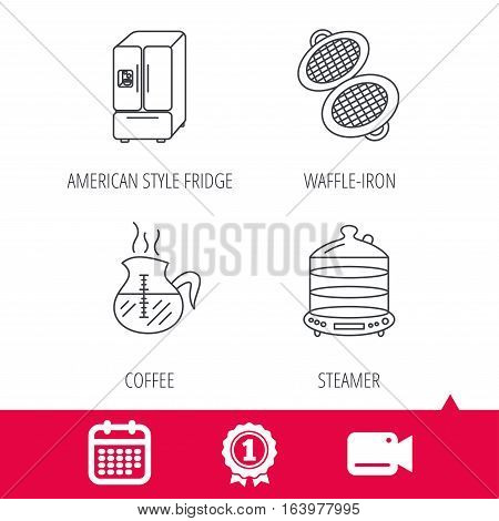 Achievement and video cam signs. Waffle-iron, coffee and steamer icons. American style fridge linear signs. Calendar icon. Vector
