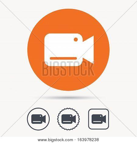 Video camera icon. Film recording cam symbol. Security monitoring. Orange circle button with web icon. Star and square design. Vector