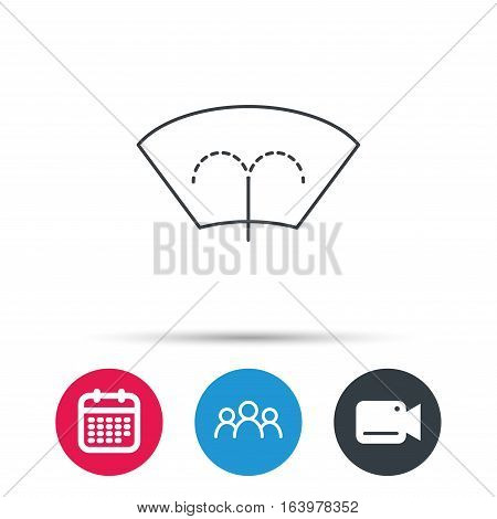 Washing window icon. Windshield cleaning sign. Group of people, video cam and calendar icons. Vector