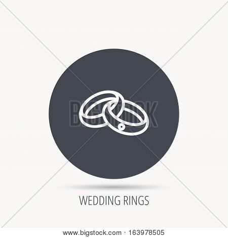 Wedding rings icon. Bride and groom jewelery sign. Round web button with flat icon. Vector