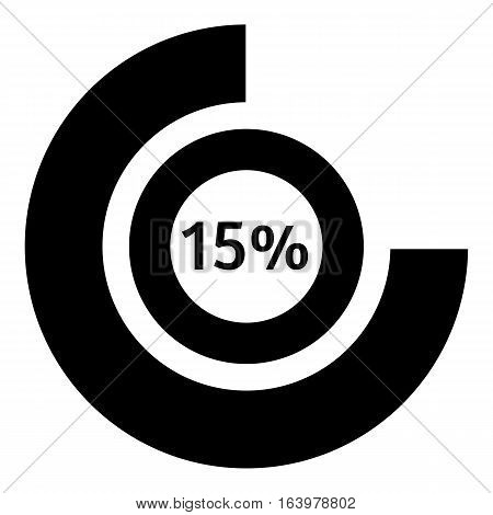 Fifteen percent download icon. Simple illustration of fifteen percent download vector icon for web