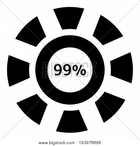 Ninety nine percent download icon. Simple illustration of ninety nine percent download vector icon for web