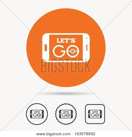 Smartphone game icon. Let's Go symbol. Pokemon game concept. Orange circle button with web icon. Star and square design. Vector