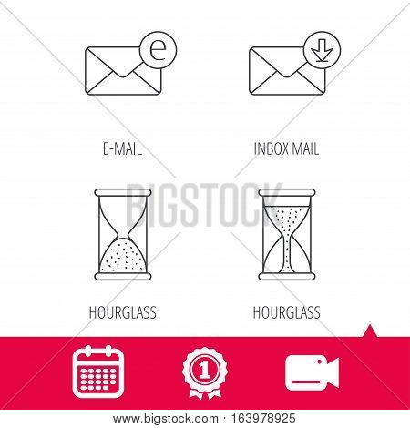 Achievement and video cam signs. Hourglass, inbox mail and e-mail icons. Hourglass linear sign. Calendar icon. Vector