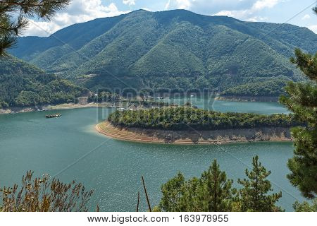 Meander of Vacha (Antonivanovtsy) Reservoir, Rhodopes Mountain, Bulgaria