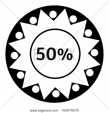 Fifty percent download icon. Simple illustration of fifty percent download vector icon for web