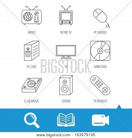 Sound, club music and retro radio icons. PC mouse and case, hard disk linear signs. TV remote icons. Video cam, book and magnifier search icons. Vector