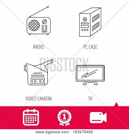 Achievement and video cam signs. Radio, TV and video camera icons. PC case linear sign. Calendar icon. Vector