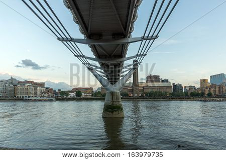 LONDON, ENGLAND - JUNE 17 2016: Twilight on Tate Modern Gallery, Thames River and Millennium Bridge, London, United Kingdom