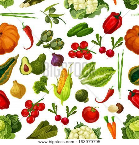 Vegetables pattern. Vector seamless pattern of vegetarian farm fresh ripe garden pumpkin, cucumber, artichokes and corn, cauliflower and pepper, leek, tomato and cabbage, mushroom, onion and avocado, olives. Graphic flat design elements