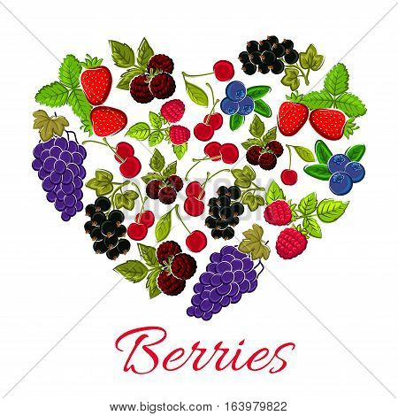 Berries in shape of heart. Vector emblem of sweet forest and garden berries grapes, strawberry, blueberry, gooseberry, black and red currant, cherry, raspberry for jam, juice marmalade dessert sticker, farm fruits store
