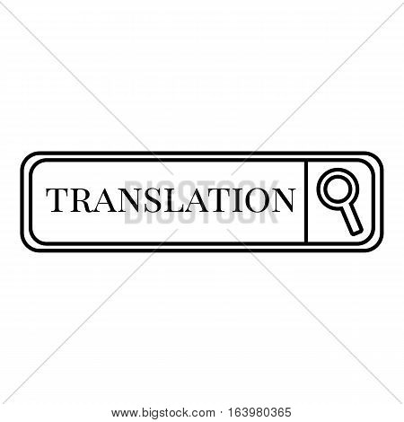 Translation search icon. Outline illustration of translation search vector icon for web