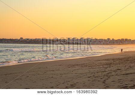 Sunset in Algarve, Portugal. Golden Hours in Faro