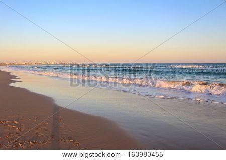 Sunset in Algarve, Portugal. Colorful picture of Faro