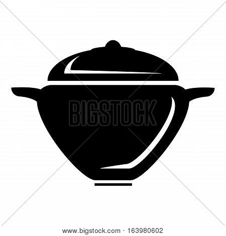 Pot with lid icon. Simple illustration of pot with lid vector icon for web