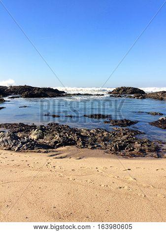 Sunny day at the beach of Vilacha