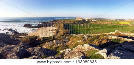 Panoramic of San Paio, Portugal. Mixing beach and hills
