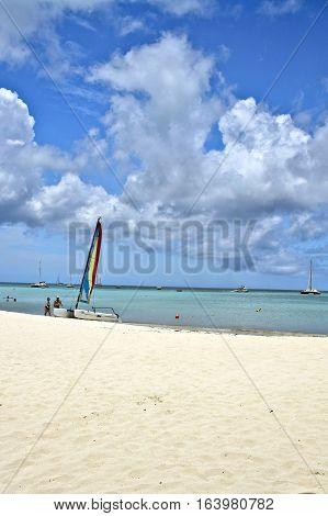 Sunny day of summer at Aruba Island