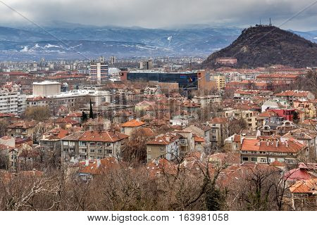 PLOVDIV, BULGARIA - DECEMBER 30 2016:  Panoramic view of city of Plovdiv from Sahat tepe hill, Bulgaria