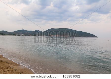 Soft picture of the greek beach in Kavala