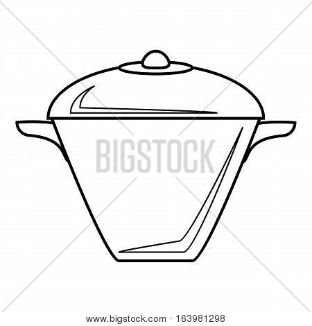 Iron saucepan icon. Outline illustration of iron saucepan vector icon for web