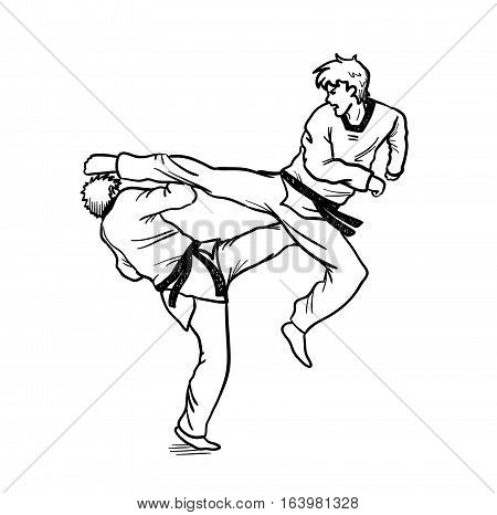 Taekwondo Fight. A hand drawn vector cartoon illustration of 2 guys sparring martial art.