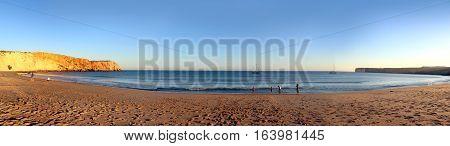 Panoramic of the beach of Sagres, Algarve, Portugal