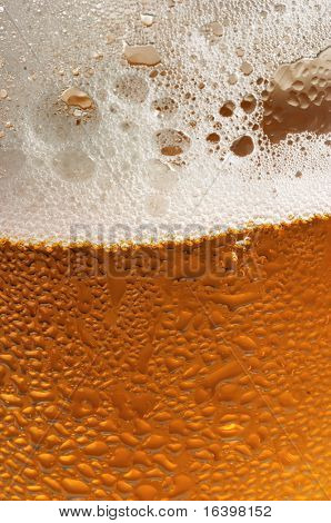 Glass of beer with water drops