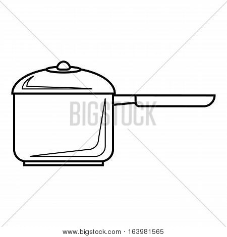 Pan with handle icon. Outline illustration of pan with handle vector icon for web