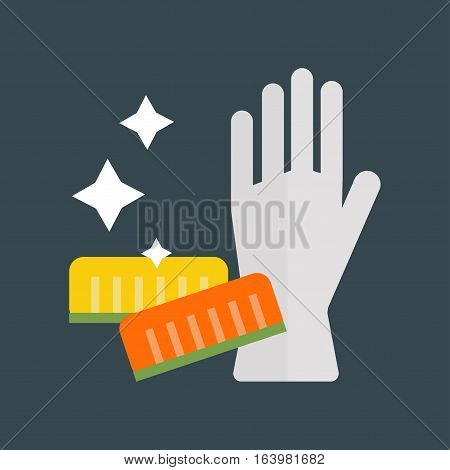 Glove for hygiene cleaning and cellulose sponges wash work protection. Rubber tool cartoon housekeeping industry wet dirty sanitize flat icon vector illustration.