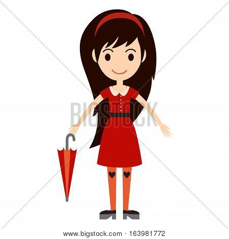 Beautiful vector cartoon girl model. Fashion look female standing over white background. Modern beauty summer cloth everyday icons illustration. Smile woman in pretty dress.