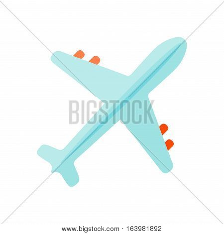 Color airplane icon top view, vector illustration isolated. Travel by aircraft flight plane transportation, passenger fighter aviation. Tourism vacation vehicle speed aeroplane.