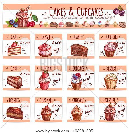 Cake and cupcake bakery menu design template with chocolate cake, cupcake, fruity dessert, muffin, berry pie, cheesecake with cream and fruits, price layouts with copy space