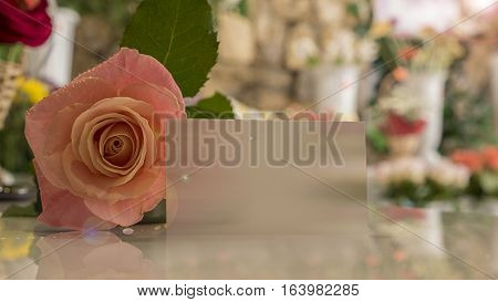 The rose is on the table and a card for notes