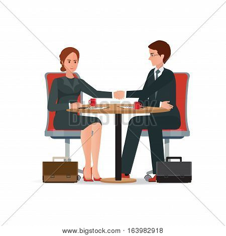Businessman and business woman shaking hand over a round negotiations table for signed contract Business handshake conceptual isolated on white background. character flat design vector illustration.