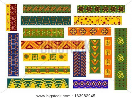 African ethnic decorative ornaments backgrounds. Tribal and national decoration with stylized elements of plants, flowers, human, animal. Bright colorful wallpaper with geometric shapes for fabric, textile, tapestry