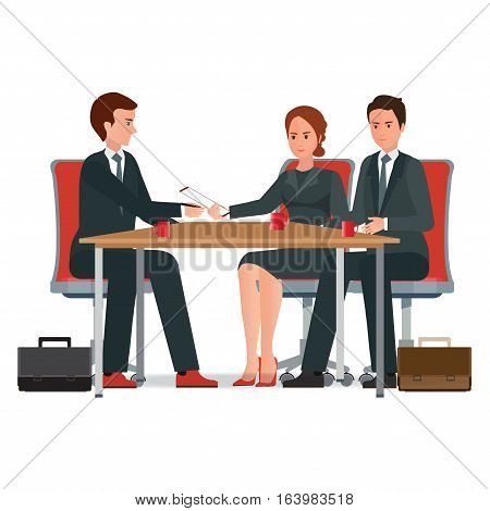 Successful business negotiations over a round negotiations table signed contract conceptual isolated on white background. character flat design vector illustration.