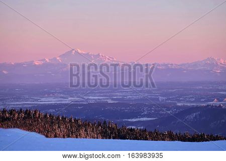 Border between United States and Canada. View from Grouse Mountain to Mount Baker US. North Vancouver. British Columbia. Canada.