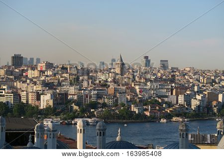 Great View from Suleymaniye Mosque at Galata Tower and the Golden Horn in Istanbul, Turkey