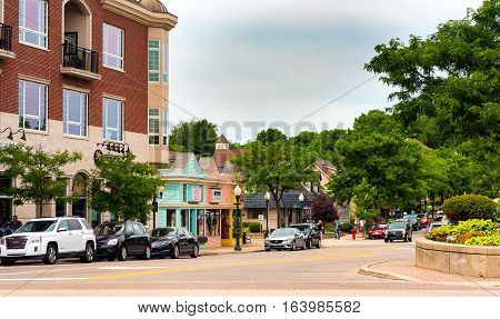 PLYMOUTH MI - JULY 17 2016: Looking down West Ann Arbor Trail from Kellogg Park in the heart of this picturesque town located midway between Detroit and Ann Arbor.