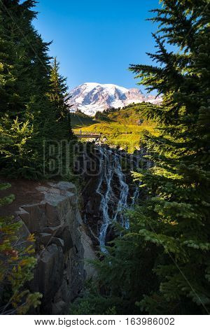 Myrtle Falls plunges into a shadowed gorge directly below the summit of Mt. Rainier