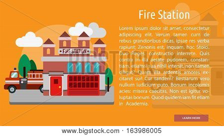 Fire Station Conceptual Banner | Great flat icons with style long shadow icon and use for building, construction, public places, station, store, and much more.